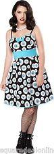 130353 Black & Turquoise Blue Eye Wanna Party Dress Sourpuss Punk Pinup Large L