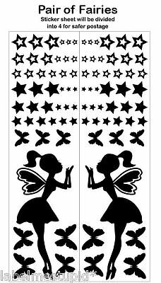 Fairy Wall Stickers Girls Nursery Room Stars Butterflies  * Any Colour *