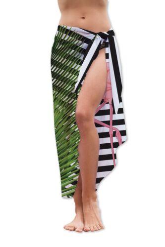 Flamingo B/&w Streifen Design Mittlere Länge Chiffon Sarong Bademode Strand Wrap