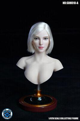 SUPER DUCK SDH021 1//6 Head Sculpt Pale Skin Carving Head For 12/'/' Phicen Body