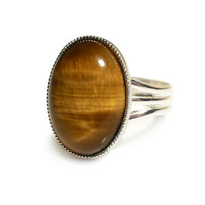 Tiger's eye Gemstone Ring Semi Precious Brown Oval Adjustable 18 x 13 mm Silver