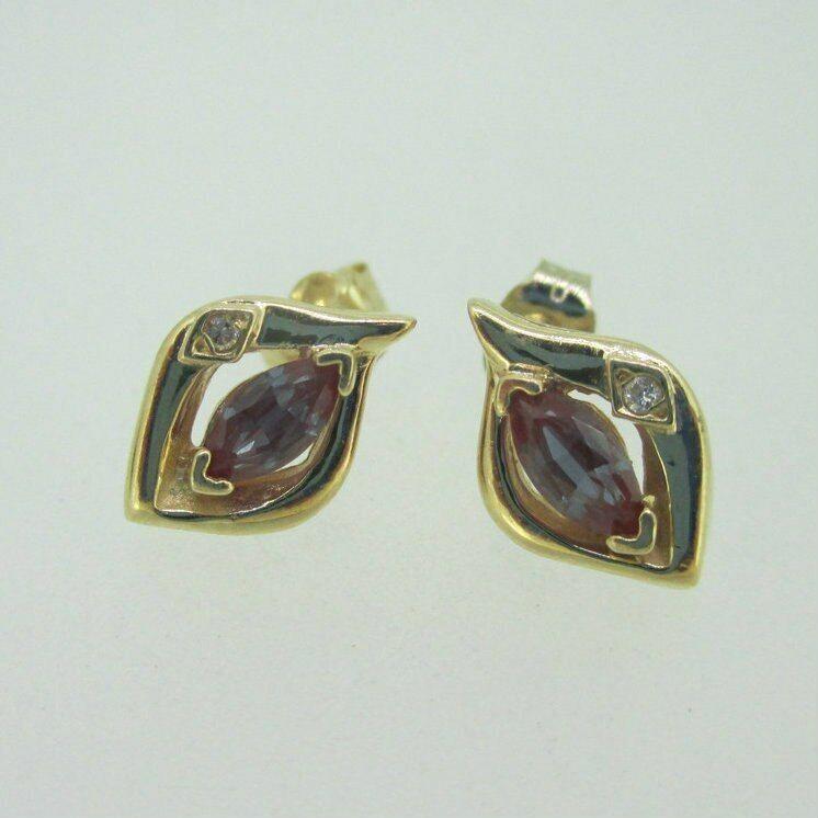 10K Yellow gold Synthetic Alexandrite Diamond Accent Earrings