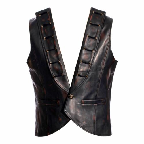 Men/'s Steampunk Western Pirate Laced Costume Vest Black Brown Faux Leather