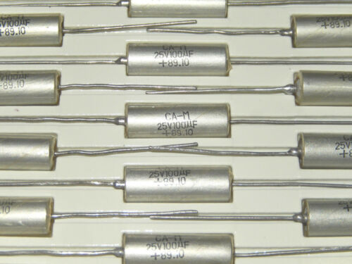 100uF 25v Sprague Axial Tantalum Capacitors NOS Lot of 2 pcs.