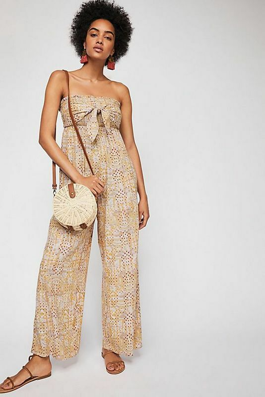 Free People NIB Medium All In Tie Strapless Jumpsuit NEW M