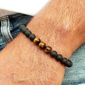 0a86f59615 Mens Black AAA Matte Onyx & Tiger Eye Yoga Beaded Stretch Bracelet ...