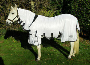 SALE-SAVE-10-Rhinegold-Savanna-Fixed-Full-Neck-Combo-Cool-White-Horse-Fly-Rug