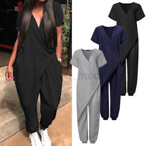 Mode-Femme-Combinaison-Loisir-Manche-Courte-Col-V-Asymetrique-Pantalon-Longue