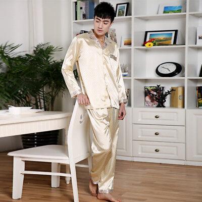 NWT 2PCS Mens Silk Satin Pajamas Sleepwear Pyjamas PJS Long Sleeve#N002 M L