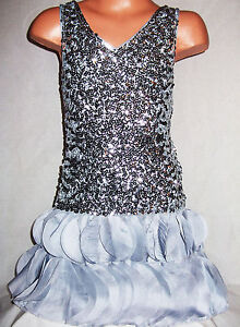 GIRLS 20s STYLE SPARKLING SILVER SEQUIN CHIFFON PETALS DANCE BALL PARTY DRESS