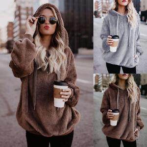 Women Warm Fluffy Winter Top Hooded Sweatshirt Ladies Pullover Jumper