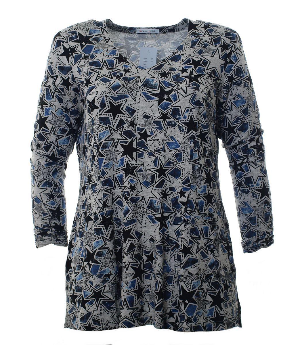 Mona Lisa Shirt Damen lang mit Sterne Langarm Blau A-Linie Große Größen