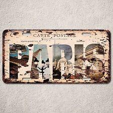 LP0118 PARIS Postage Trip Auto License Plate Rust Vintage Home Store Decor Sign