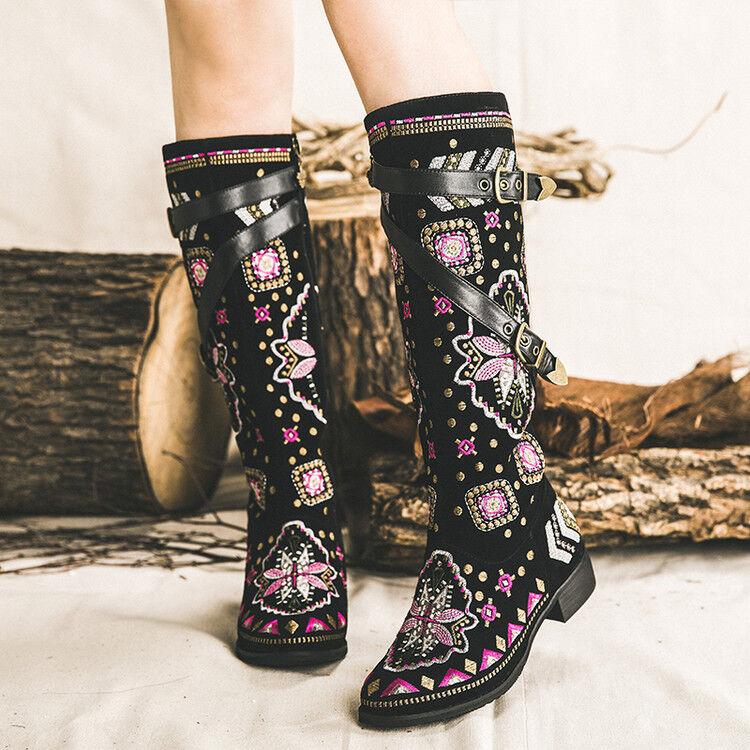 les bottes de cuir mi - mollet femmes daim bohème brodés bottes souliers brodés bohème fleur knight 3c13ac