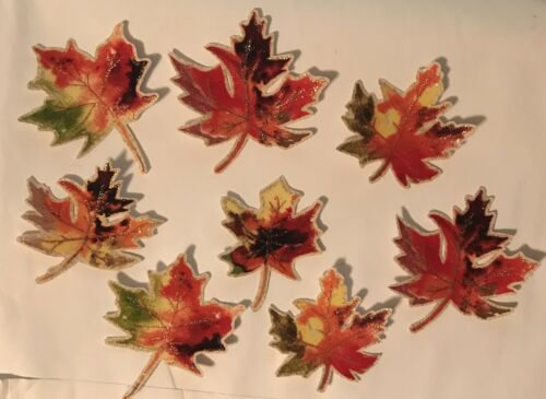 Iron On Fabric Appliques Fall Leaves Sparkly Autumn