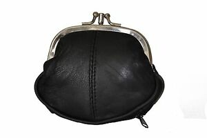 COIN-PURSE-DOUBLE-FRAME-WITH-ZIPPER-POCKET-NEW-BLACK