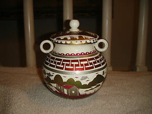 Asian Japanese Wood Painted Trinket Spice Jar Bowl Lid Handles House Sea Theme