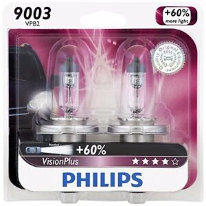2x Germany Philips 9003 H4 Vision Plus Upgrade Bright