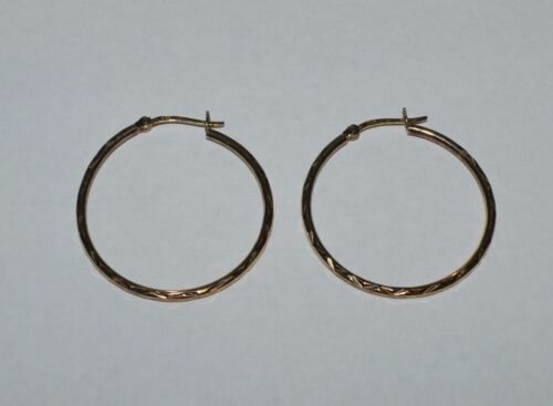 GOLDEN TONE STERLING SILVER ETCHED HOOPS EARRINGS