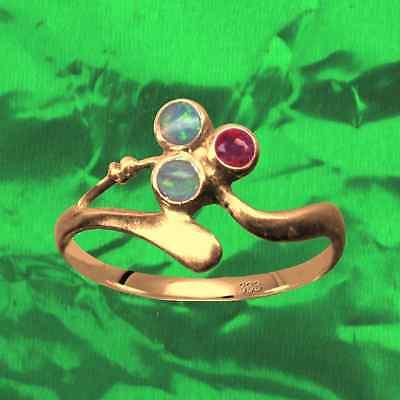 Antik Stil Attraktiv Jugendstil Ring Echt 333 Rose Gold Original Saphir Opale