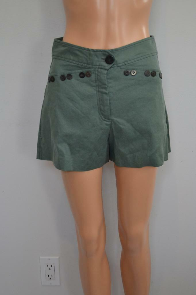 NWT Derek Lam 10 Crosby Army Green Linen Blend Shorts Size 0