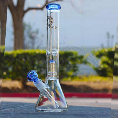 14 inch Water Hookah Glass Bong Ice Catcher Smoking Pipe thick Bongs US stock