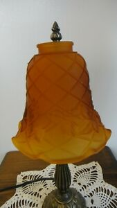 NOS-Amber-Etched-Glass-Lattice-amp-Ivy-Design-Lamp-Shades-with-2-1-4-034-fitter