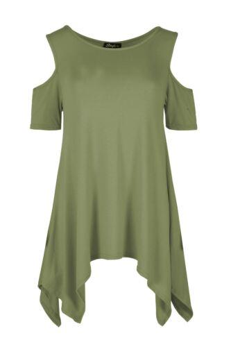 Ladies Womens Baggy Oversized Hanky Hem Cold Shoulder Dress Cap Sleeve Plain Top