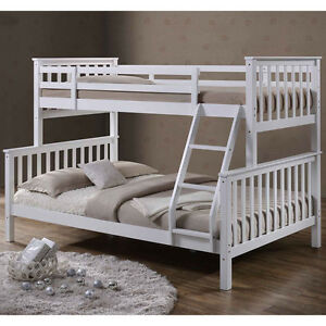 Solid White Wooden Triple Sleeper Bunk Bed Single Double Size Kids