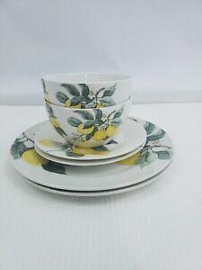 6 Royal Norfolk Tuscan Lemon Print Stoneware Round Salad Dinner Plates Bowls