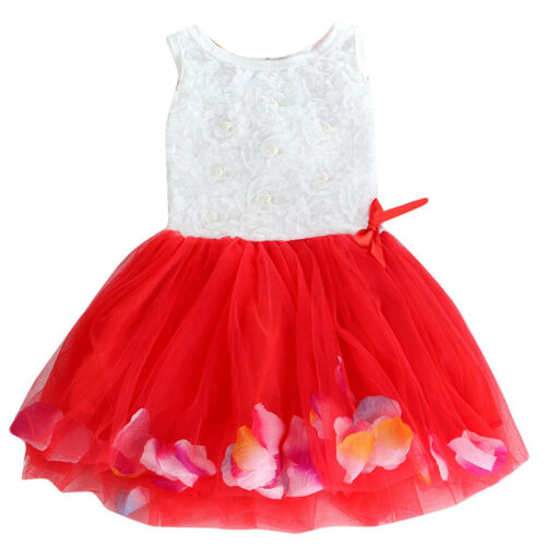 Toddler Infant Baby Girls Bowknot Tutu Petals Tulle Dresses Flower Gown Outfits