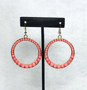 Double-Sided-Hoop-Earrings-Faceted-Peach-Beads-And-Textured-Gold-Plate