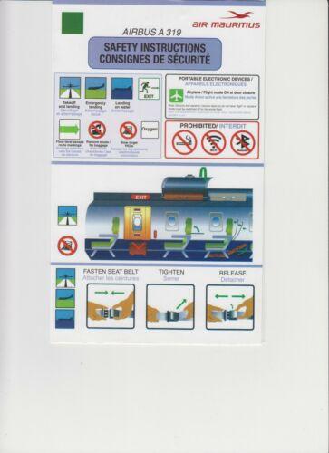 Safety Card Air Mauritius A319