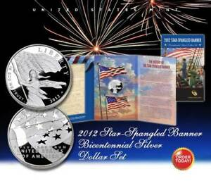 2012-Star-Spangled-Banner-Bicentennial-Silver-Dollar-Proof-Set-NEW-amp-SEALED
