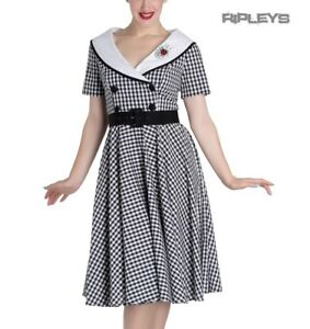 Hell-Bunny-50s-Dress-Summer-Black-White-LADYBIRD-Gingham-All-Sizes