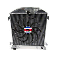 Aluminum Radiator For 1932 Ford Chopped Ford Engine 3row +14 Fan