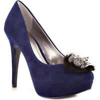 Bcbg Womens Scottie Blue Dark Navy Suede Casual Platform Fashion Pumps Heels