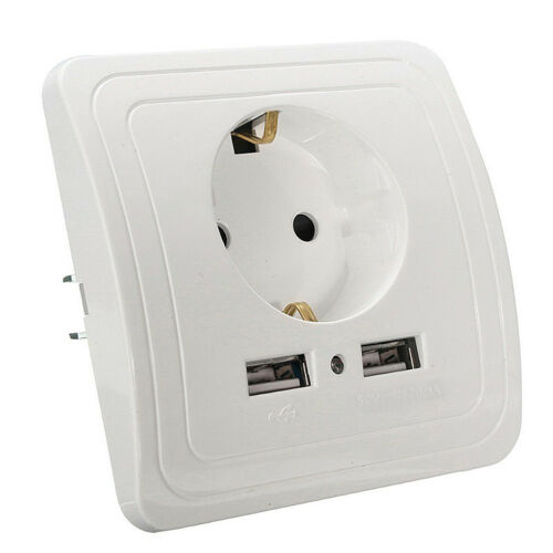 Dual USB Port Electric Wall Charger Station Socket Adaptateur Prise d/'alimentation UE Plug