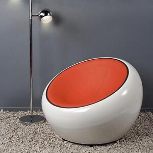 Poltrona girevole 360? design half dome bianca rosso arancio eco pelle pod chair