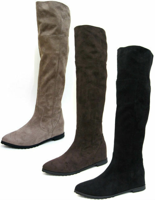 SALE LADIES SPOT ON POINTED TOE HALF ZIP UP FLAT KNEE HIGH BOOTS F4366 £9.99