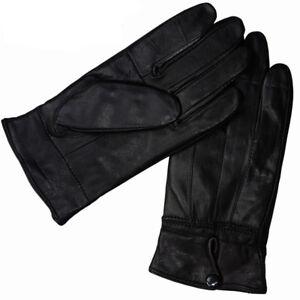 Nappaleder Damen Handschuhe Lederhandschuhe mit Druckknopf gefüttert  S M L