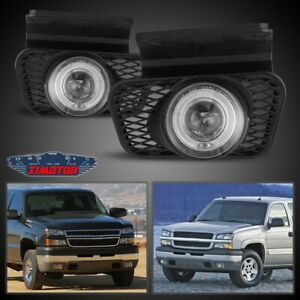 Fit Chevy Silverado 03-07 Clear Lens Pair Bumper Fog Light Lamp OE Replacement