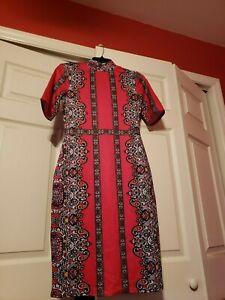 New Women's New York & Company Paisley Print Dress, Size XS, Pink