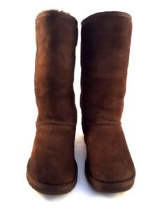 9450e63082c2 Image is loading UGG-Australia-Brown-Suede-knee-high-boots-low-
