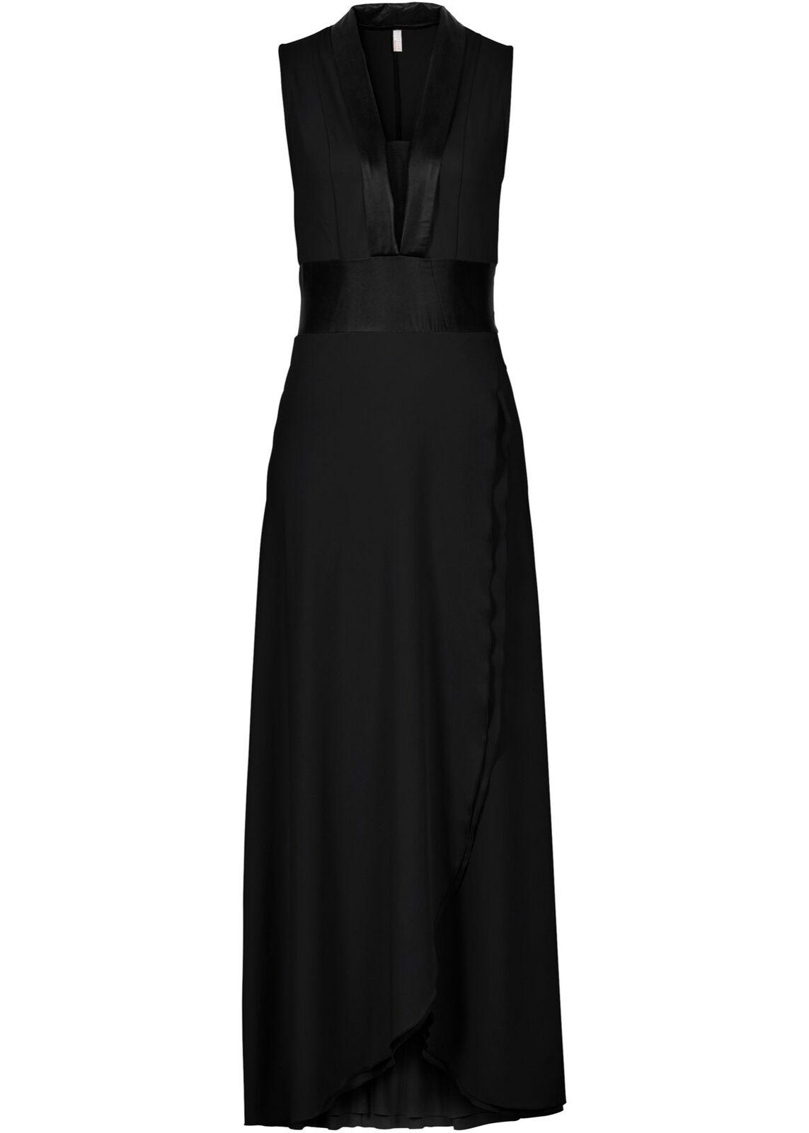 Jersey-Kleid Gr. 38 Dunkelblau Schwarz Maxi-Kleid Abendkleid Cocktailkleid Neu
