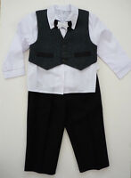 Baby Boy Grey Smart Outfit Page Suit Wedding Christening Baptism Party 3m-11y
