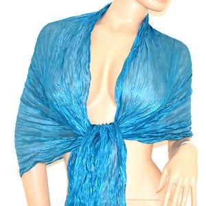 Stola Foulard Maxi Coprispalle Donna Azzurro Seta Elegante Cerimonia Scarf 115g Apparence Attractive