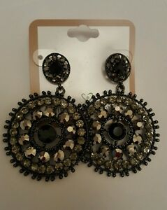 Image Is Loading Black Vintage Style Chandelier Earrings Gunmetal