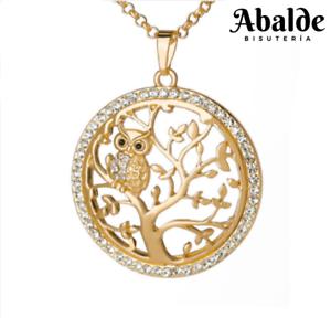 Brillante-Collar-Mujer-Buho-Arbol-De-La-Vida-Oro-Joya-Regalo-Dia-de-la-Madre