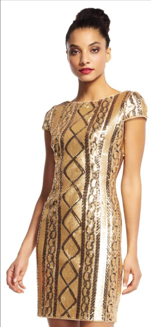 Adrianna Appell, gold Dress, US Size 10